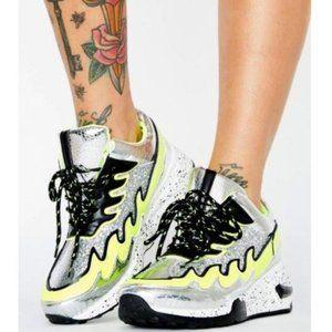 Hidden Heel Fashion Sneakers in Silver & Lime